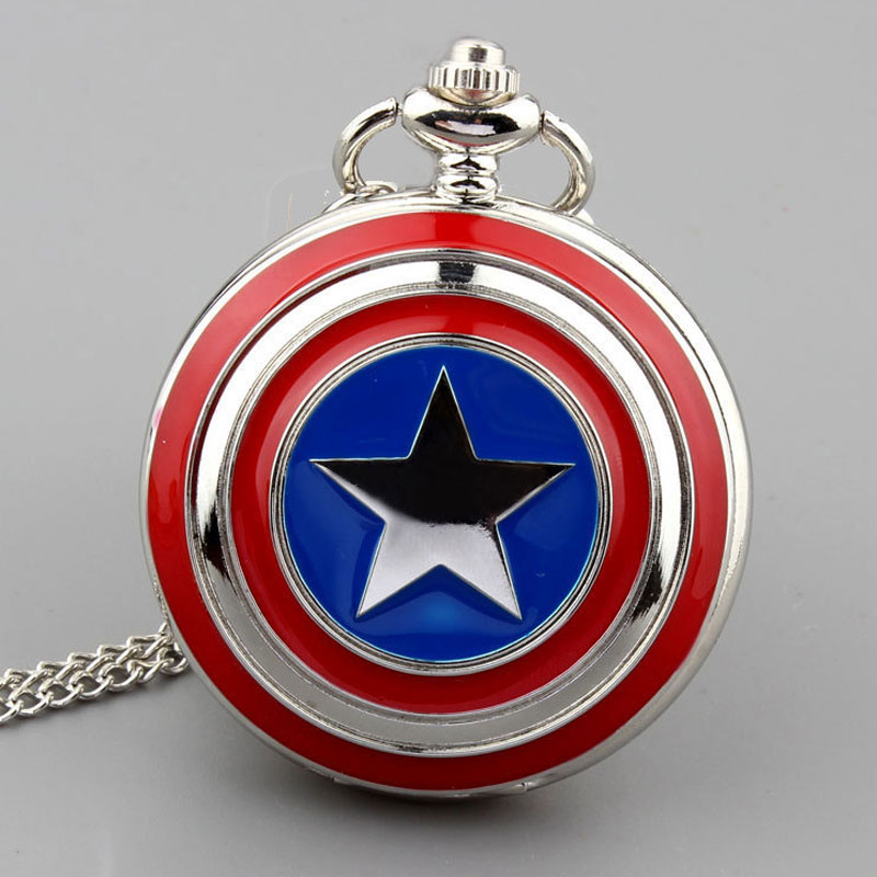 Quartz Pocket Watch Captain America Icon Star Mens Watch Pendant Necklace Chain Fob Watches Men Women Clock Reloj De Bolsillo