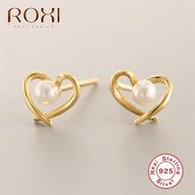 Fashion Heart Pearl Stud Earrings for Women Brincos Oorbellen Cute Korean Earrings 925 Sterling Silver Wedding Earrings Jewelry цена 2017