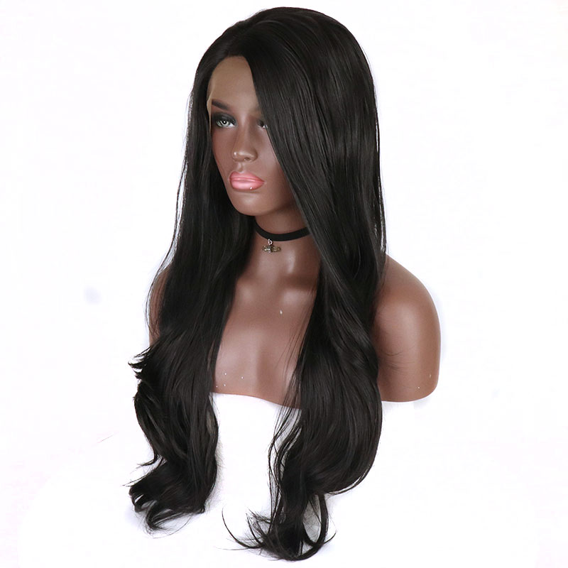 Bombshell 180 Density Black Natural Wave Synthetic Lace Front Wig Glueless Heat Resistant Fiber Free Parting