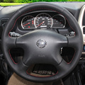 Black Leather Steering Wheel Cover for Nissan Almera N16 Pathfinder Primera Paladin Old XTrail 2001-2006 Renault Samsung SM3
