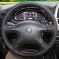 Cubierta del volante de cuero negro para nissan almera n16 pathfinder primera viejo xtrail paladin 2001-2006 renault samsung sm3