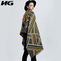 [HG] Winter 2018 Women Europe Fashion New Geometric Pattern Pashmina Female Striped Thick Loose Scarves ZLL2597