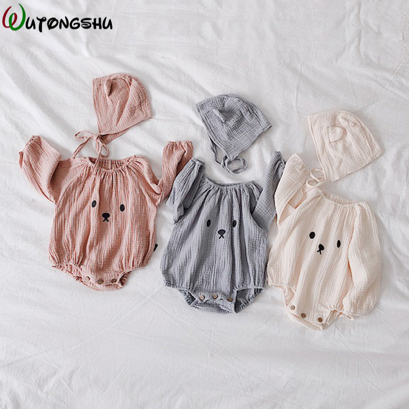 Fashion Baby Girl Clothes One-pieces Jumpsuits + Hat Long Sleeves Baby clothing Infant Girl Clothes Cotton Baby   Rompers   For 0-2Y