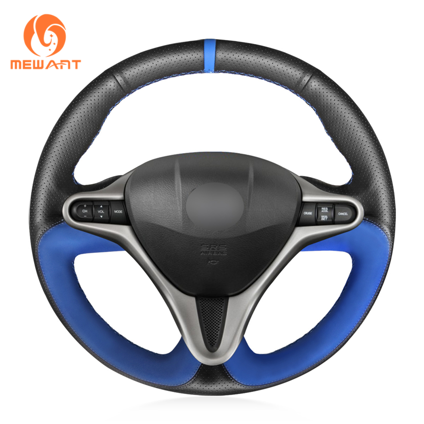 MEWANT Black Genuine Leather Non slip Blue Suede Hand Sew Car Steering Wheel Cover for Honda