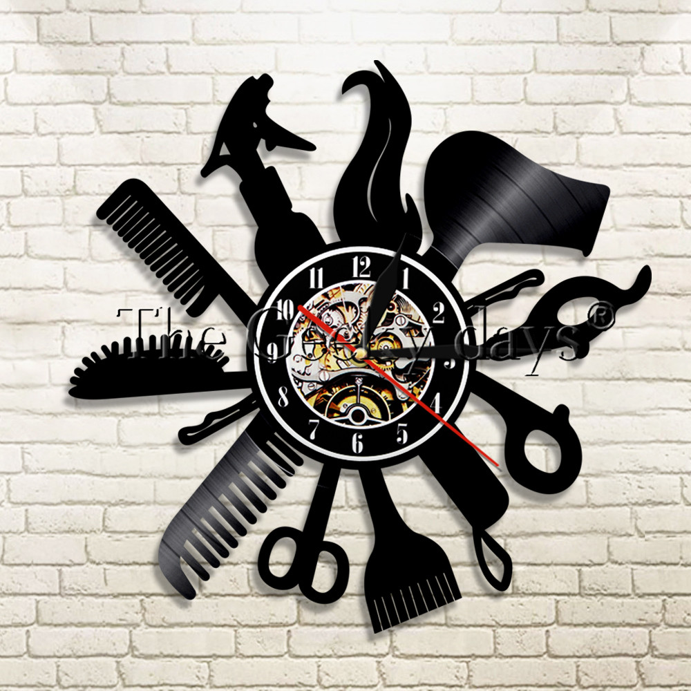 1Piece Barber Shop Vinyl Record Wall Clock Beauty Salon Store Vintage Wall Clock Haircut Decor Time Clock Gift For Hairdresser