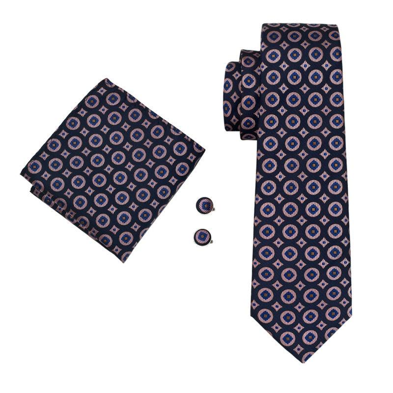 LS-1486 Barry.Wang Classic Men`s Tie 100% Silk Pink Novelty Fashion Necktie Hanky Cufflink Set For Men`s Wedding Party Business