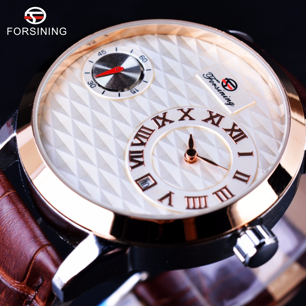 Forsining Second Dial Display Rolse Golden Case Brown Genuine Leather Strap Men Watches Top Brand Luxury Automatic Fashion Watch forsining day date month display white dial genuine leather strap men fashion casual watches montre homme men watch luxury brand