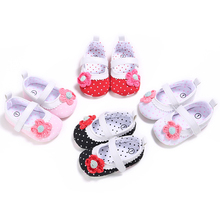 2017 Spring AutumnNew Hot Sale Baby Girls Shoes With Flower Princess Dots Design Toddler First Walkers Shoes