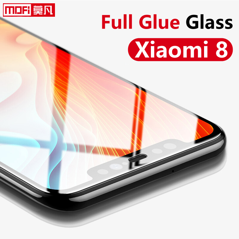 Screen Protector For Xiaomi Mi 8 Tempered Glass 9H 2.5D Mofi Original Full Glue Full Cover Premium Xiaomi Mi 8SE Tempered Glass
