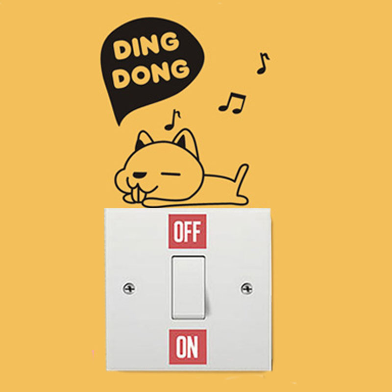 DING DONG Cute Pet Dog Switch Stickers Baby Room Decor Wall Stickers A3055 ...