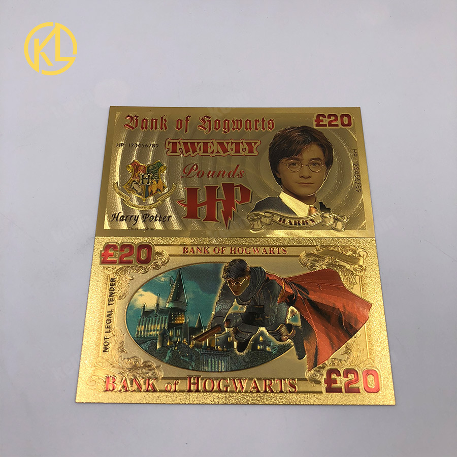 Stunning Harry Potter Bank of Hogwarts  Gold Plated £20 Banknote and Certificate
