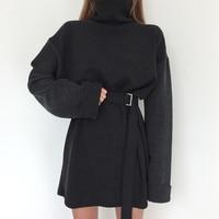 real shot 2018 spring women's solid turtleneck long sleeve dress female bandage plus size straight cotton dresses