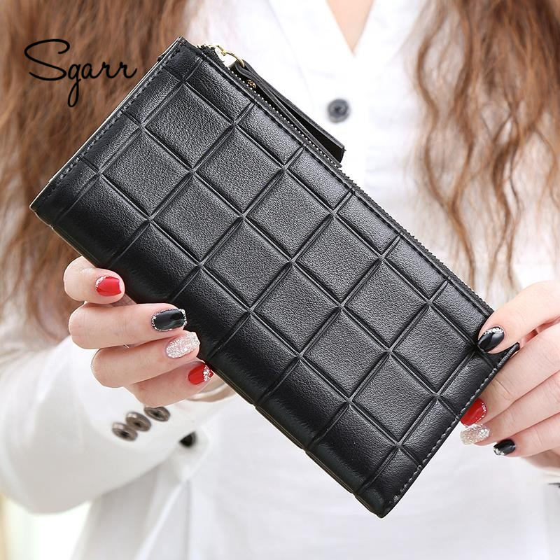 SGARR Fashion Women Purse PU Leather Wallet Female Long Designer Zipper Phone Pocket Causal Coin Purses For Girls