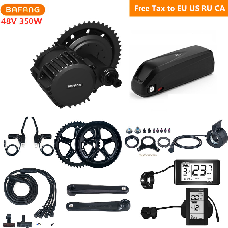 Bafang 8fun 48V 350W BBS01B Mid Drive Motor Kits With 48V 17AH Hailong Lithium Battery C965 C961 Eletric Bicycle Conversion Kits image