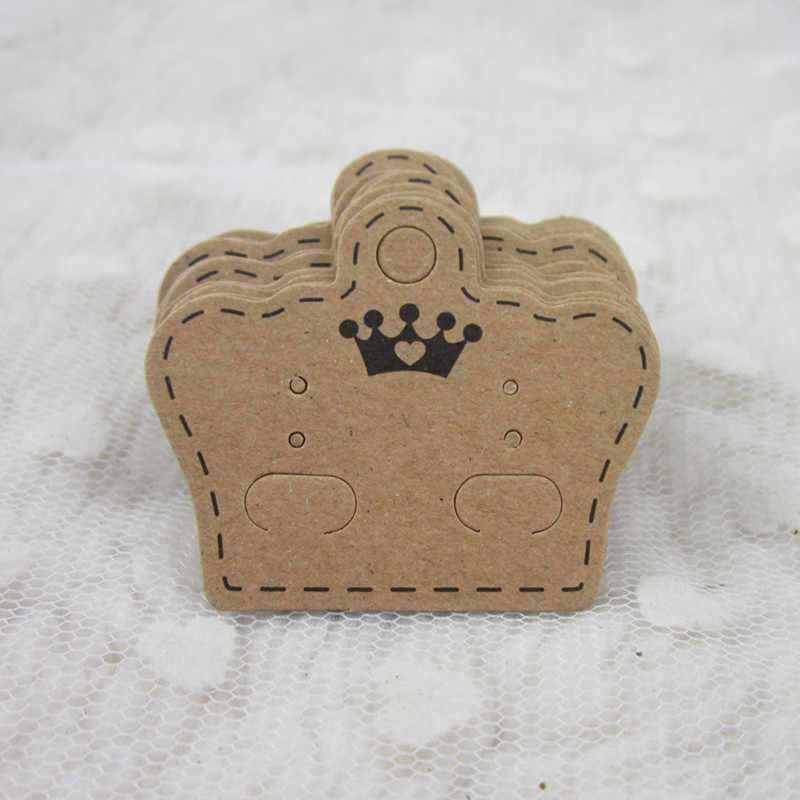 Pendientes Tarjeta de etiqueta collar/pendiente/horquilla colgante/tarjetas de embalaje joyería de papel Kraft 10 piezas