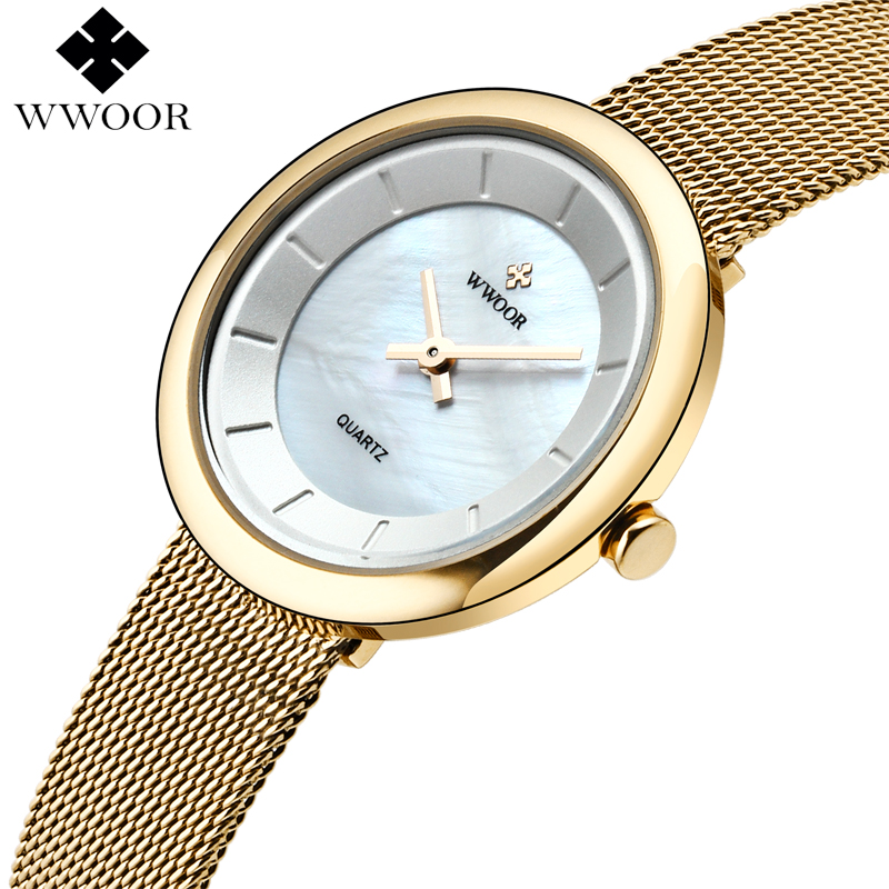 Luxury Brand WWOOR Two Hands Waterproof Women Watches Gold Quartz Wristwatch Ladies Stainless Steel Bracelet Watch Female Clock weiqin new 100% ceramic watches women clock dress wristwatch lady quartz watch waterproof diamond gold watches luxury brand