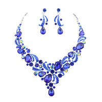 Fashion Crystal Wedding Jewelry Sets For Bride Party Costume Accessories Bridal Decorations Necklace Earring Jewellery For