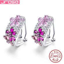 JROSE 8CT Lab created red & Spessartine Garnet & Pink CZ Solid 925 Silver Flower Nice Clip Earrings Gift with Box