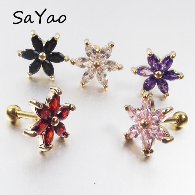 Us 1 18 15 Off Sayao 1 Piece 1 2x6x3mm Lip Ring Labret Earring Nail Bone Barbell Zircon Rose Flower Helix Tragus Ear Piercing Body Jewelry In Body