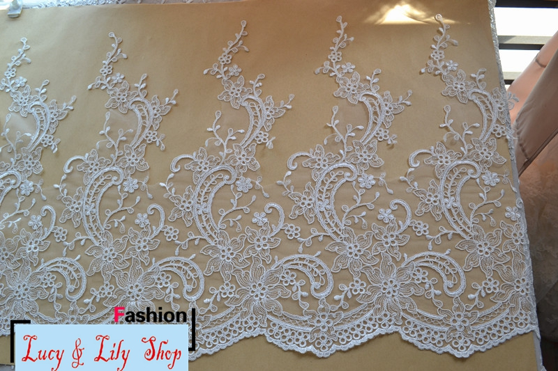 50CM wide ivory wedding lace trim embroidered flower lace trimming lot cord lace border for flowing gown wedding dress trailing