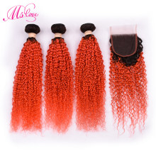 Ms Love Ombre 1B Orange Bundles With Closure Colored Bundles With Closure Brazilian Remy Human Hair Weave Bundles(China)