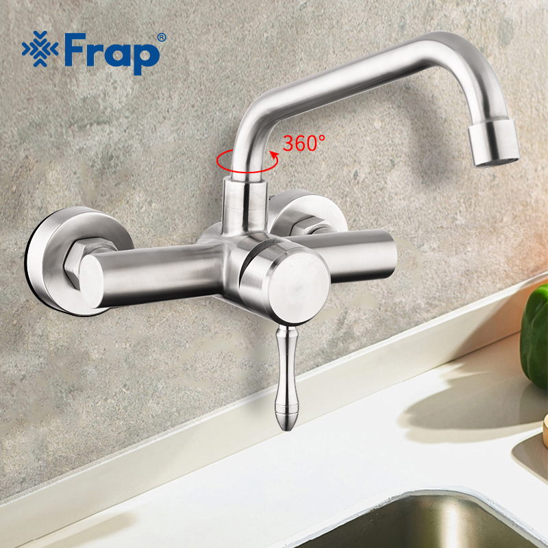 Frap Wall Mounted Double Holes Flexible Kitchen Faucet Mixer Sink Tap Wall Kitchen Faucet Hot and