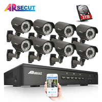 8CH CCTV System 3TB HDD Onvif 1080P HD H 264 Varifocal 2 8mm 12mm 2 Array