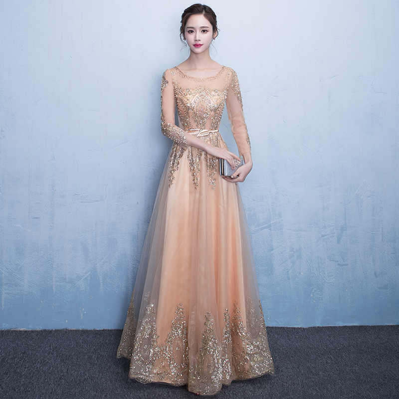 Simple Long White Dress With Sleeves Naf Dresses: Simple Long Dress Formal Evening Gown Yellow Gold Beaded
