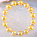 "Free Shipping New without tags Fashion Jewelry Zinc Alloy Gold 12MM Pearl Beads Bracelet Stretch 8"" 1Pcs RH1371"
