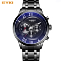 EYKI Big Dial Three Eyes Design Skeleton Luminous Pointer Blue Light Glass Steel Quartz Watches Men Luxury Brand Date Week Clock
