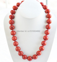 free shipping 00843 HUGE natural 24 18mm round red grass coral bead NECKLACE