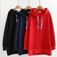 Большие размеры, женская одежда, осень и зима, хлопок и свитер с капюшоном.