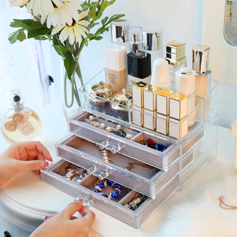 Drawer Type Cosmetics Storage Box Velvet Cloth First Tray Lipstick Rack Makeup Organizer Plastic Container for
