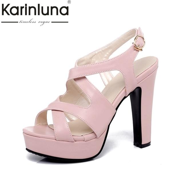 Karinluna Wholesale Large Size 32-43 Black White Pink Sandals Women Shoes  Summer High Heels Party Wedding Bride Shoes Woman 619b301196c0