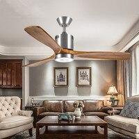 52 дюймов Ретро Гостиная светодиодный потолочный вентилятор свет Винтаж творческий бар Обеденная вентилятор свет твердой древесины кафе св