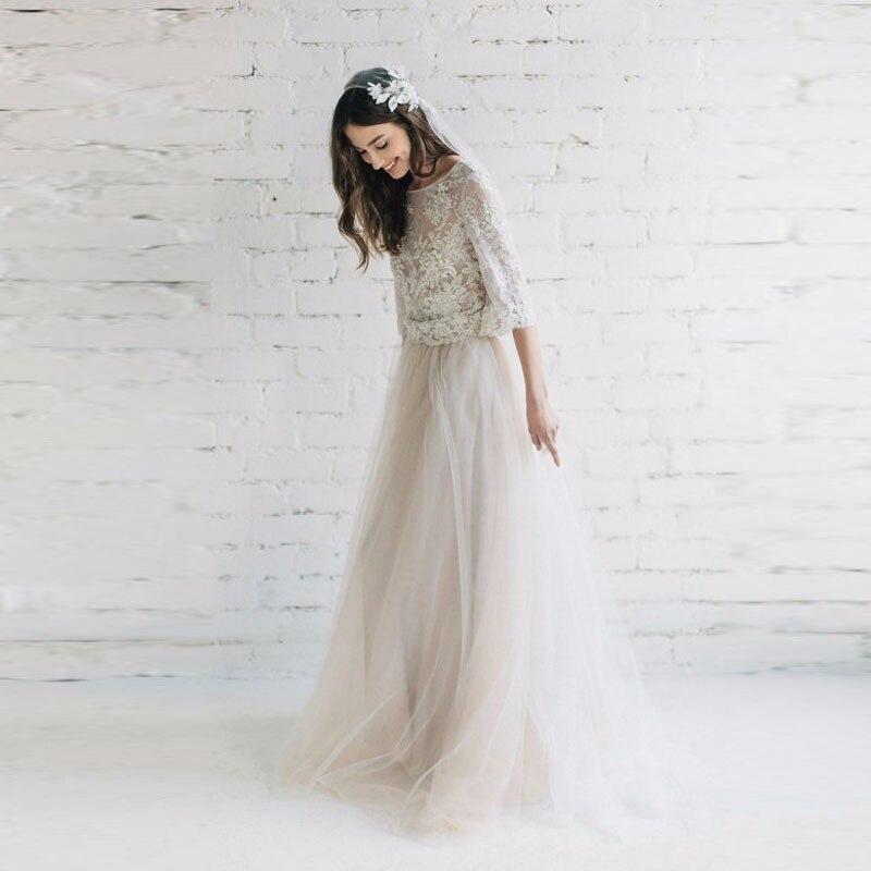 d959b3b91 € 26.09 30% de DESCUENTO|Beige tulle nupcial elegante Falda larga  revestimiento por encargo mujeres Maxi Faldas para la boda foto tomando  estilo ...