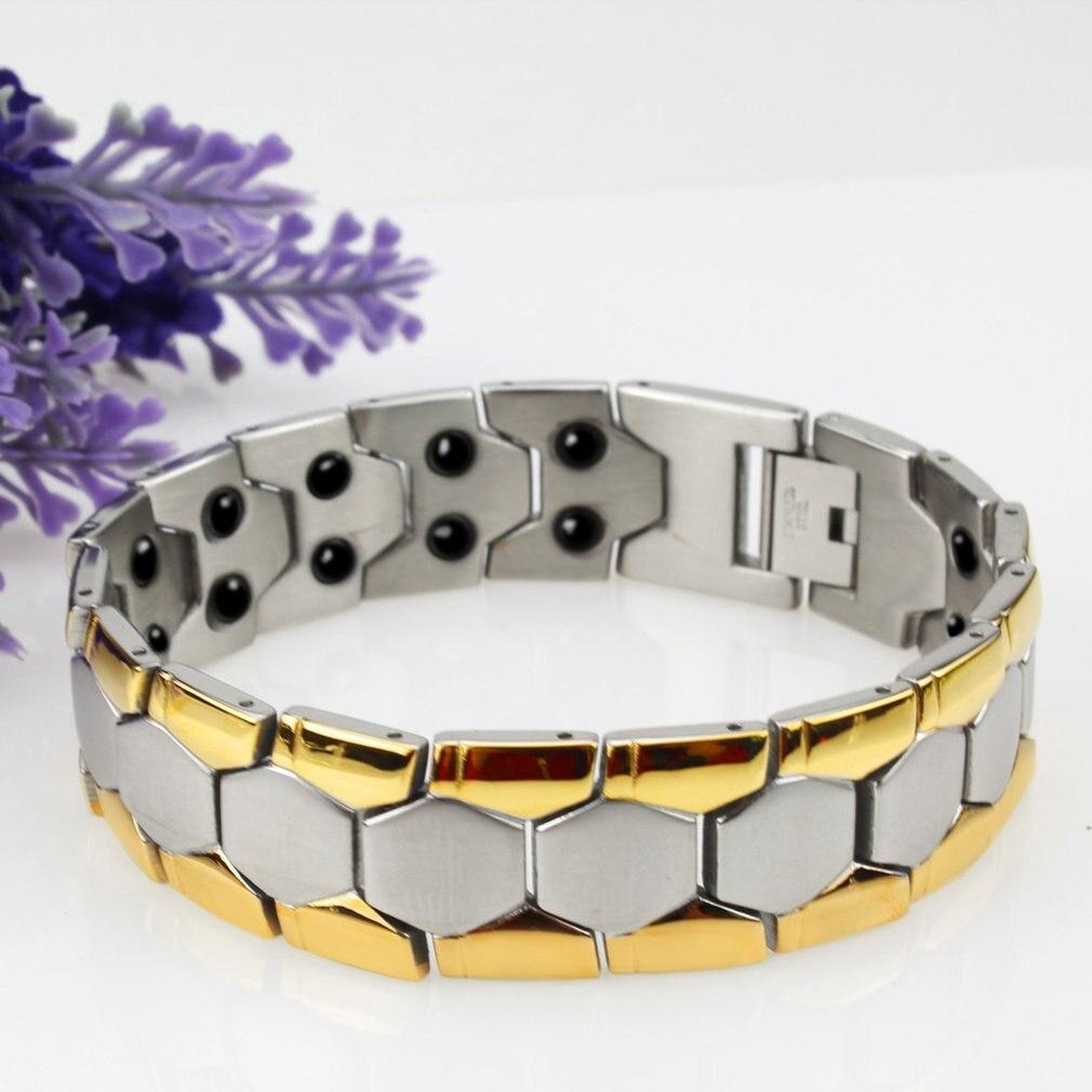 Genboli 2017 new fashion jewelry magnetic titanium bio energy bracelet for men blood pressure health care