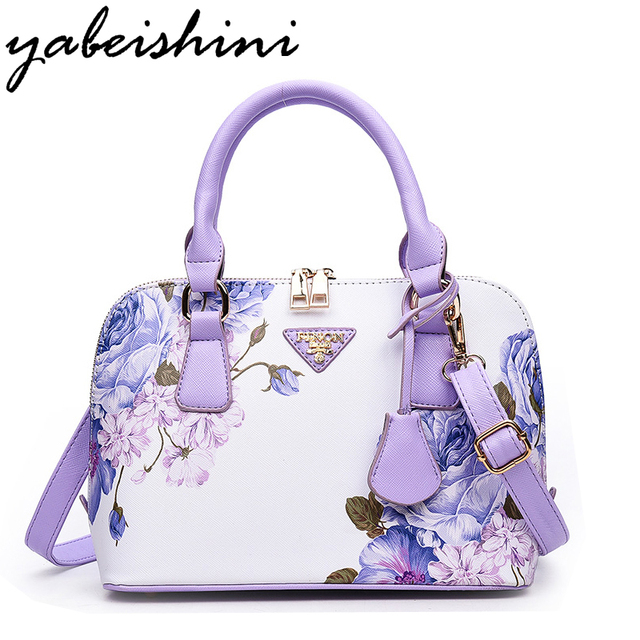 Hot Printing Flowers Shoulder Bags Sac Luxury Women Designer Handbags High Quality Brand S Purple