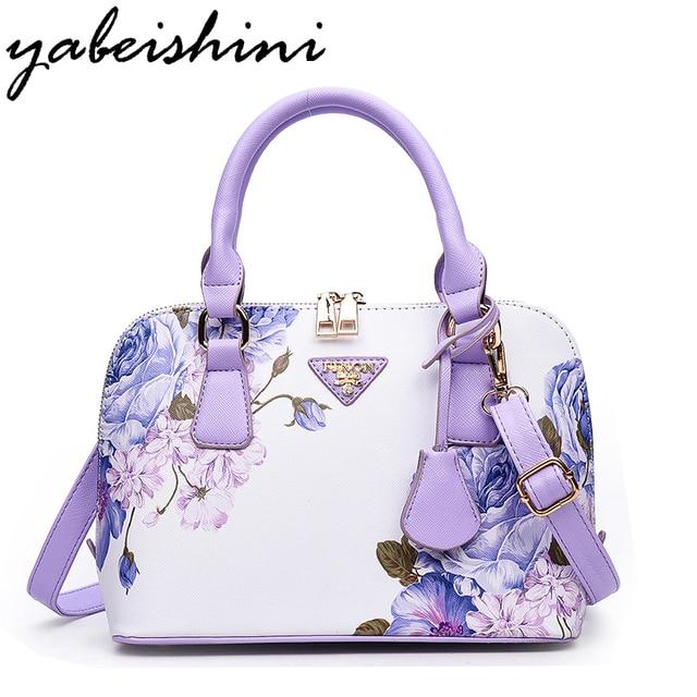 Hot Printing Flowers Shoulder Bags Sac Luxury Women Designer Handbags High Quality Brand Shell Purple