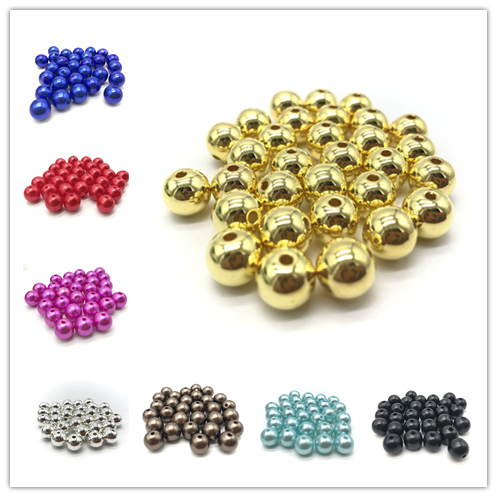 4mm 6mm 8mm 10mm DIY Acrylic Round Pearl Spacer Loose Beads Jewelry Making