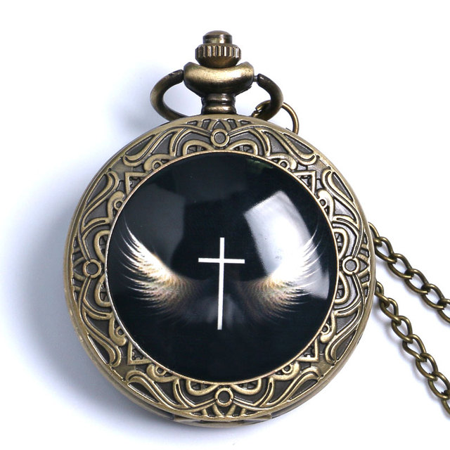 Retro Cool Cross with Wings Design Bronze Fob Watch With Necklace Chain High Qua