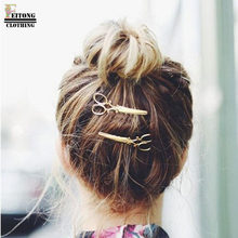 FEITONG 2017 princess hair accessories scissors Shape comb Shape Hair Clip Hair Accessories Headpiece(China)