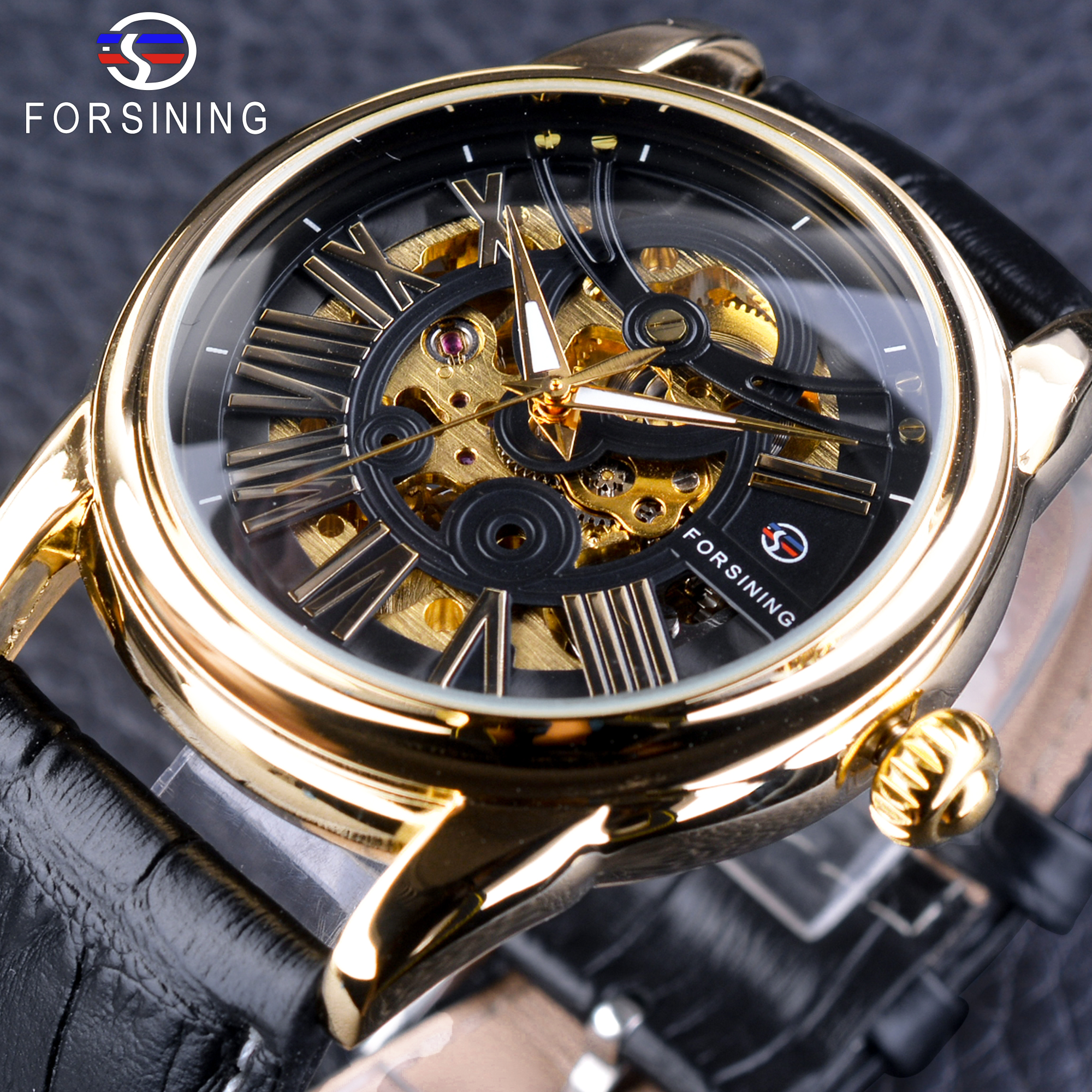 Forsining Official Exclusive Sale Black Genuine Leather Fashion Roman Number Design Men's Automatic Skeleton Watches Golden Dial tt tf ths 02b hybrid style black ver convoy asia exclusive