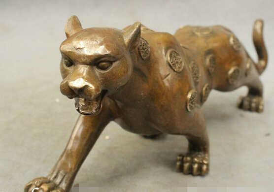"""Bir 006509 11 """"Bronze Cinese di Rame Esorcizzare Gli Spiriti Maligni Feroce Leopardo Pantera Statua"""