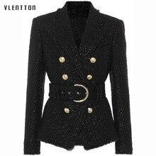 Blazer woman spring autumn 2019 New fashionable Short Bright Silk Threads Wool Belt Slim Fit Double Breasted black Blazer Jacket