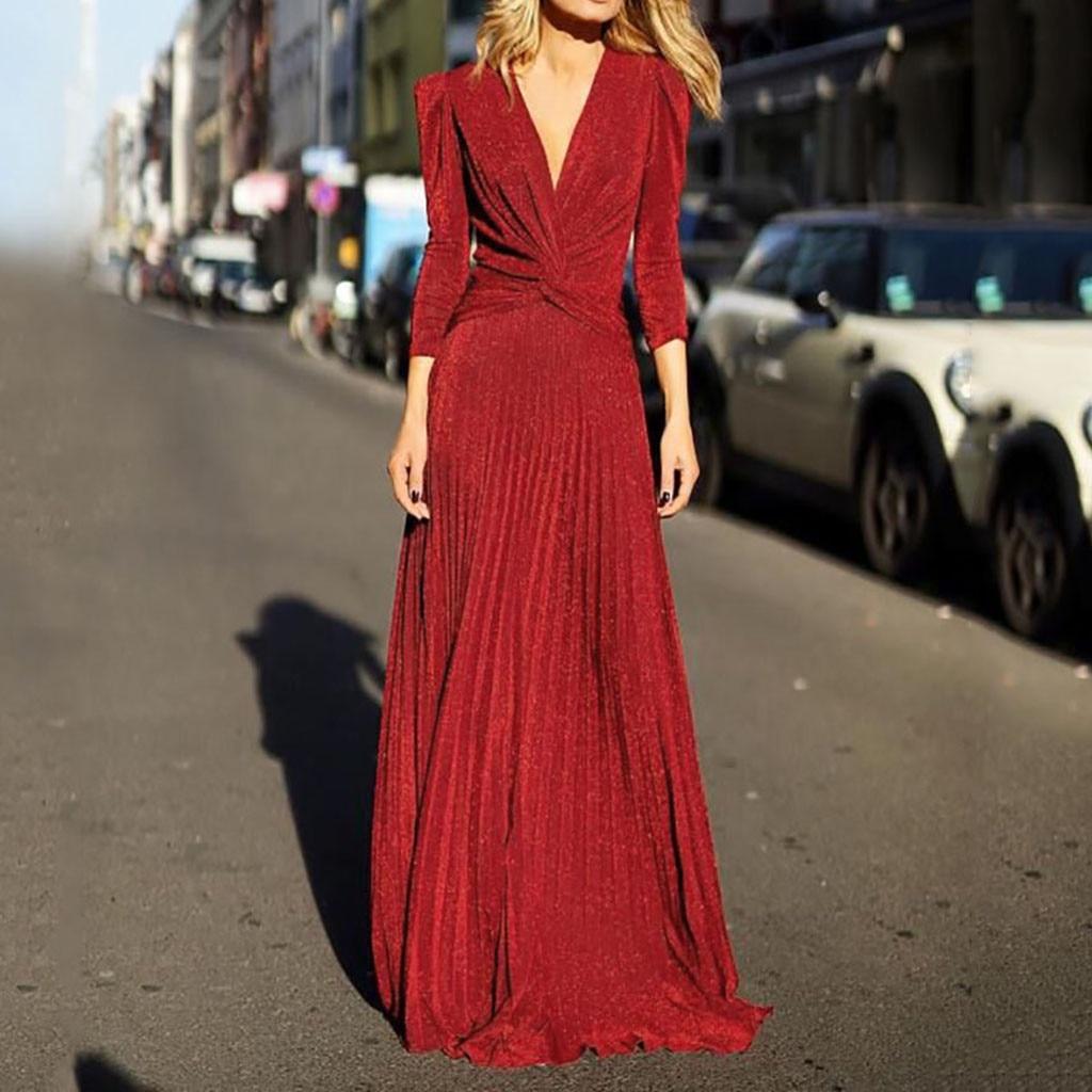 Partie Vintage Maxi Dentelle Mince Robes À Red Taille Soirée Cou Élégante V Sexy De 2019 Mariage Femmes Manches En Haute Élégant Longues Bandage w6n4q