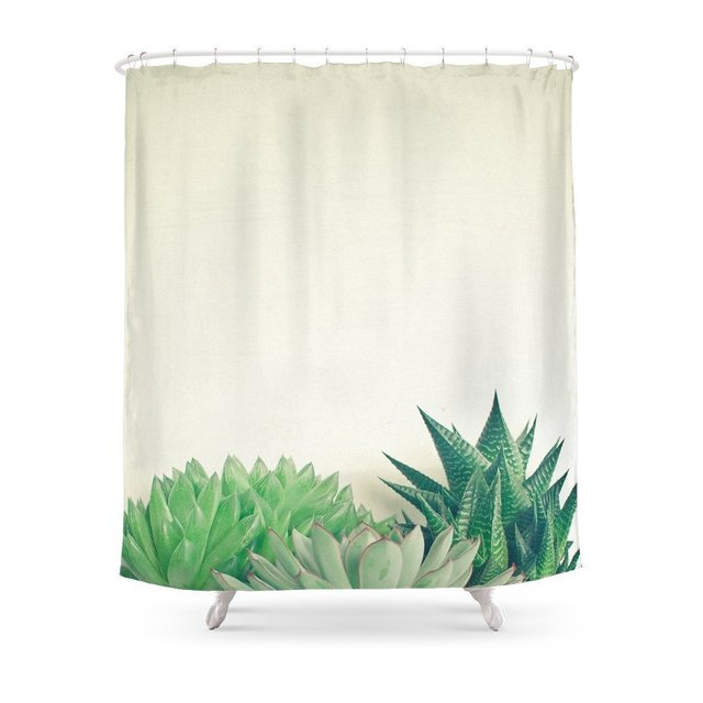 Succulent Forest Shower Curtain Waterproof Bathroom Curtains Accessories Home Decoration