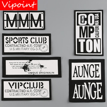 VIPOINT embroidery printed warning patches letter alphabet badges applique for clothing YM-33