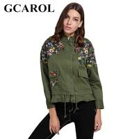 GCAROL New Embroidered Floral Jacket Two Big Pockets Standard Collar Draw String Oversize Female Coat Spring