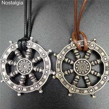 Religious Wheel Of Life Samsara Buddhist Jewelry Dharma Amulet Buddha Pendant Viking Necklace Men Women Talisman